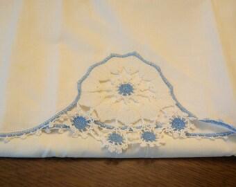 Vintage White and Blue Pillowcase