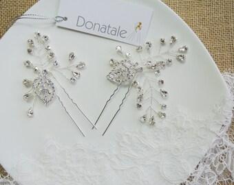 SALE Bridal hair pins,Crystal  hair pin,Hair vine pins,Leaf  Wedding hair pins, Bridesmaids hair pins, Bohemian, Woodland- AURORE