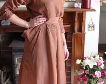 Late 1940s Bronze New Look Peplum Dress