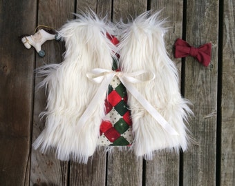 white faux fur vest- Made to order baby/toddler