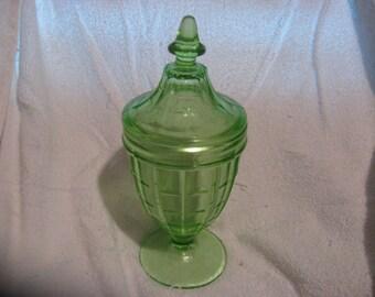 HAZEL ATLAS Colonial Block GREEN Lidded Candy Jar Compote Bowl