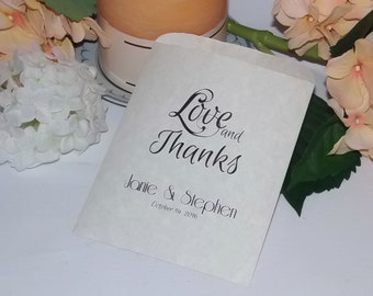 Wedding Cookie Bags Personalized Treat Bag Favor Bag Parchment