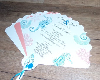 Wedding Program Fans Personalized for Beach Wedding, Ceremony Fans