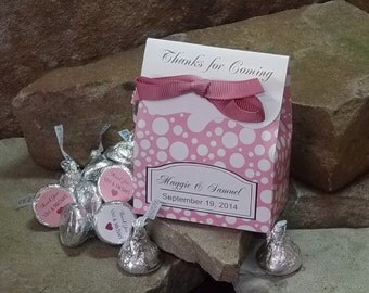 Hershey Kiss Wedding Favors, 10 Chocolate Kiss Favors, More Colors, Bubbly Print