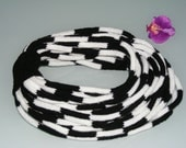 Circle Scarf Knited -Wool iCord Infinity Scarf Rope (30pcs), Cords Scarf in black and white, knit necklace - READY TO SHIP - Fall Fashion