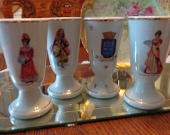 French Porcelain Wine Chalice Set  /Goblet Set Of Four / Renaissance Wine Goblet Set