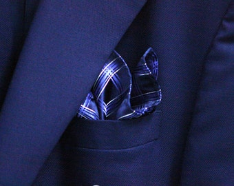 SILK Pocket Square in Checks with Navy Horizon Blue and Silver