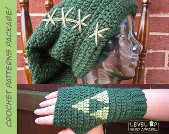 Legend of Zelda Crochet Pattern Super Package! Link hat and Triforce mitts PATTERNS || Multiple sizes || Instant Download