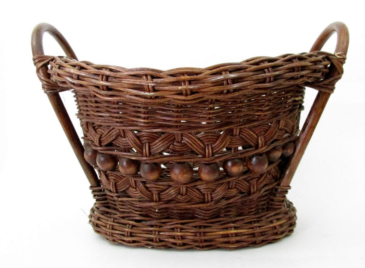 vintage wicker basket with wood handles and wood beads. Black Bedroom Furniture Sets. Home Design Ideas