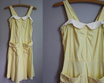 1940's Dress // Yellow and White Two-Tone // XXS