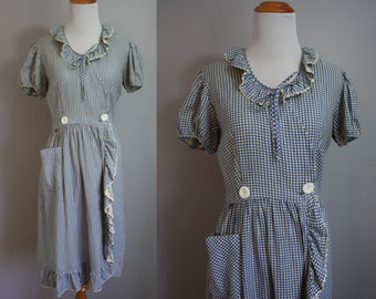 1930's Dress // Blue Grid with Ruffles // Medium
