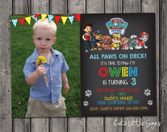 Paw Patrol Birthday Invitation Digital Download