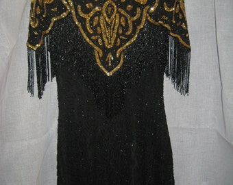 vintage BLACK & GOLD Beaded DRESS