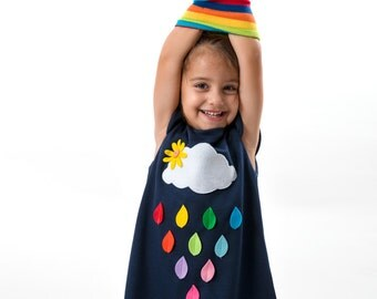 Toddler girl dress, clouds and rainbow rain, colourful clothes, spring clothes, children clothing, dark blue dress, felt appliques