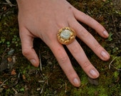 English snail shell and gold leaf peach ring