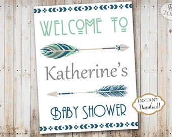 INSTANT DOWNLOAD - Tribal Aztec Boho Baby Shower Welcome Sign Printable - Editable Welcome Sign - Shower Welcome Sign - 0339 -0440