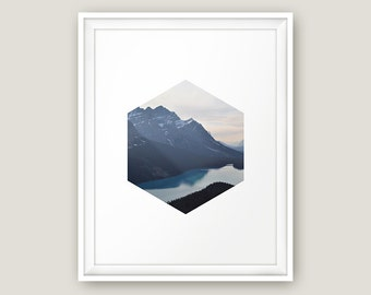 Mountains Printable, Printable Photography, Photography Print, Nature Printable Wall Art, Landscape Photo, Scenery Poster, Hexagon Print