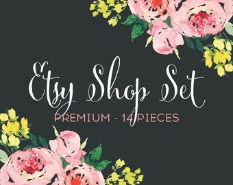 Etsy Banners Shop Set Premade with Pink Watercolor Flowers - 12 Piece Set with Business Card and Facebook Timeline Photo - Social Media Set