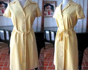 MOLLIE PARNIS 60s Dress / fits S-M / Mollie Parnis Ultrasuede Dress / 60s yellow ultrasuede dress / Mod Mollie Parnis dress