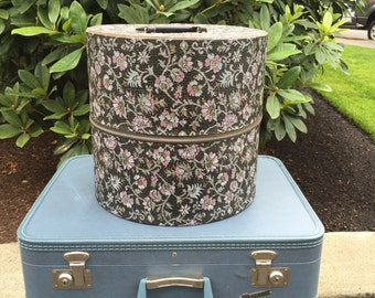 Vintage Hat Box, Blue Flower Wig Box, Traveling Hat Luggage, Hat Box Suitcase, Vintage Luggage, Wig Box