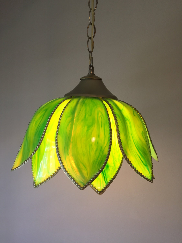 Vintage Tulip Light Green Swag Light Pendant Lamp Flower