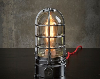 "Chrome Industrial touch Lamp  ""Vapor Touch""  modern decor nautical cage table Lamp,  red vintage cord"