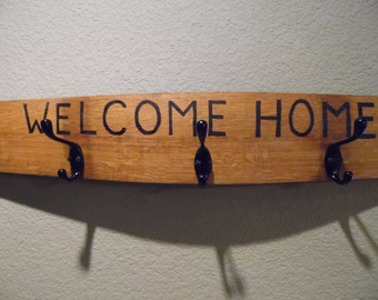 Welcome Home Wine Barrel Stave Hat and Coat Rack with Five Hooks, Home Decor, Storage