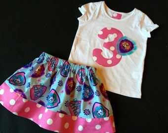 skye from Paw Patrol birthday number or initial shirt with matching twirly skirt- birthday outfit