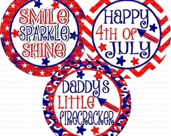 Happy July 4th Bottle Cap Images 4x6 Bottlecap Collage Scrapbooking Jewelry Hairbow Center
