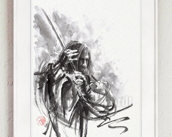 Ronin, Samurai Poster, Japanese Art, Abstract Calligraphy Style, Surreal Painting, Wall Decor, Sumi-e Style, Oriental Artwork, Mens Gift