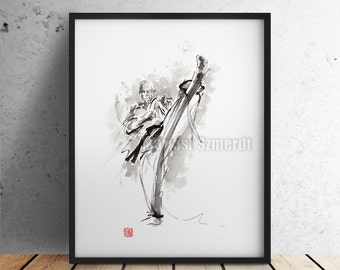 Karate Warrior Japanese Ink Painting Original Art Kyokushinkai Poster
