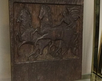 Mid Century Carved Wood Panel