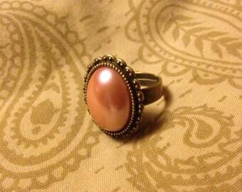 Brass Dreams Cabochon Ring: Peach