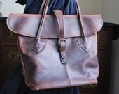 Fred Braun New York XL leather distressed flap shoulder tote bag - Made in Italy