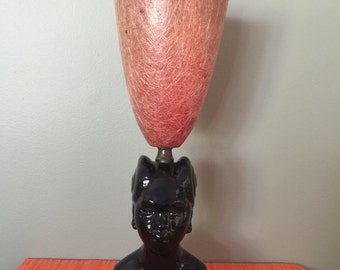 Ceramic Lady Lamp with Fiberglass Shade