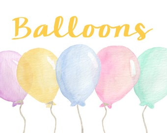 Balloon Watercolor Clip Arts for Scrapbooking Digital Files Kids Birthday Invitation Printable Download Sale