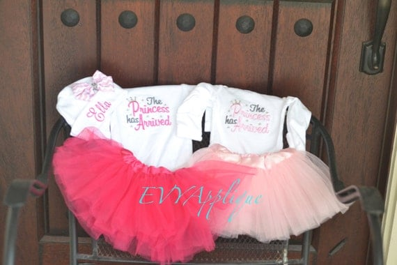 Newborn Princess Tutu Outfit - Pink and Gray - the Princess has arrived!  Great for coming home from the hospital!  Baby Shower gift!