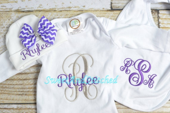 Personalized newborn gown or bodysuit, baby girl take home hospital outfit purple and gray, newborn hat with name, monogram baby girl outfit