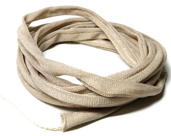 100% Silk Ribbon Elastic - Hand Dyed - Jersey - BEIGE