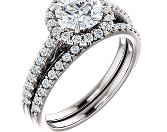 FOREVER ONE Moissanite Halo Diamond Engagement Ring Set  in 14k White Gold - ST248221 (Other stone options available) Certified Appraisal