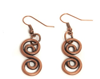 Vintage Inspired, Unique Style, Squiggle Copper Colored Earrings