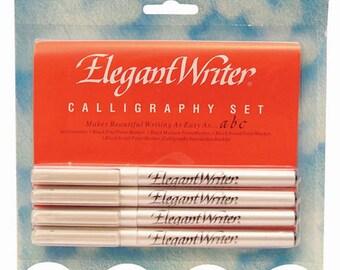 Elegant Writer Calligraphy Kit - 4 Black Calligraphy Pens with Instructions (darhu2880)
