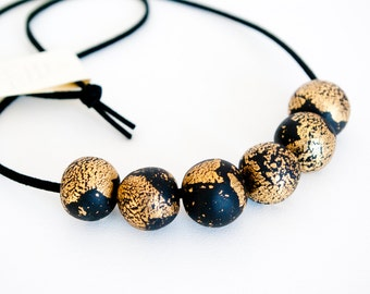 Gold and Black statement necklace, Black and Gold necklace, Beaded Gold necklace, Black Suede and Gold Bead Necklace, Statement Necklace
