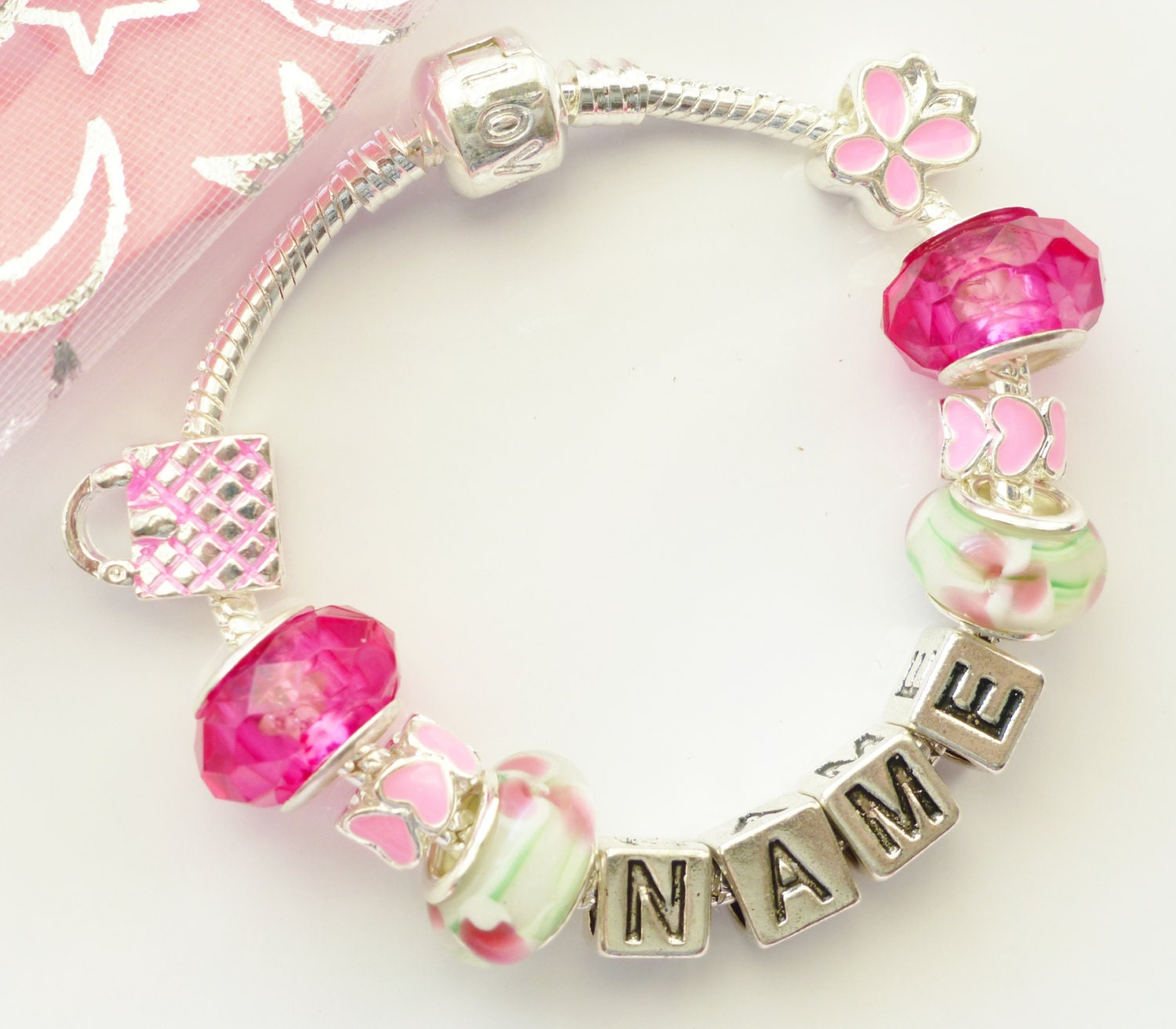 Kids Name bracelet personalised childrens name pink by