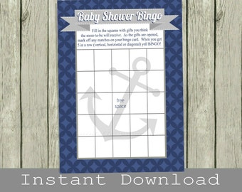 Nautical Baby Shower Bingo Game Cards, navy blue and gray, INSTANT DOWNLOAD, print your own, diy digital printable file, boy babyshower idea