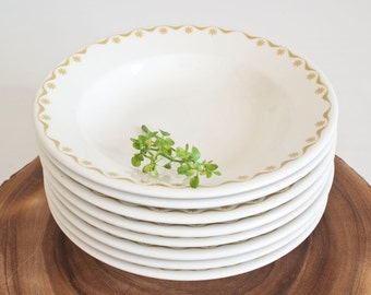 SET of 4 Vintage Buffalo China Restaurant Ware Wide Rim Soup Bowls, Shallow Pasta Bowl, Mid Century Green Flower Band (SET of 4-8 available)