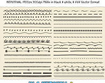 Doodle Borders - 40 Hand Drawn Borders - Border Clipart - Instant Download - Vector & PNG formats