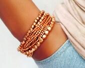 Liquid Bead Bracelet Set In Copper, Rose Gold, Bracelet, Yoga Bracelet, Beaded Bracelet, Copper Beads, Rose Gold Bracelet, Bead Bracelet