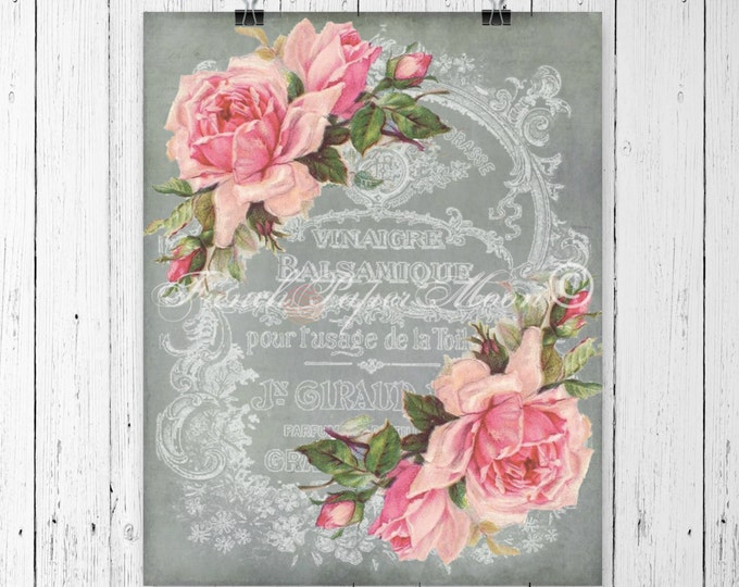 Digital Download Vintage French Graphics, Shabby Chic Pink Roses, Digital French Ephemera Collage, French Pillow Image