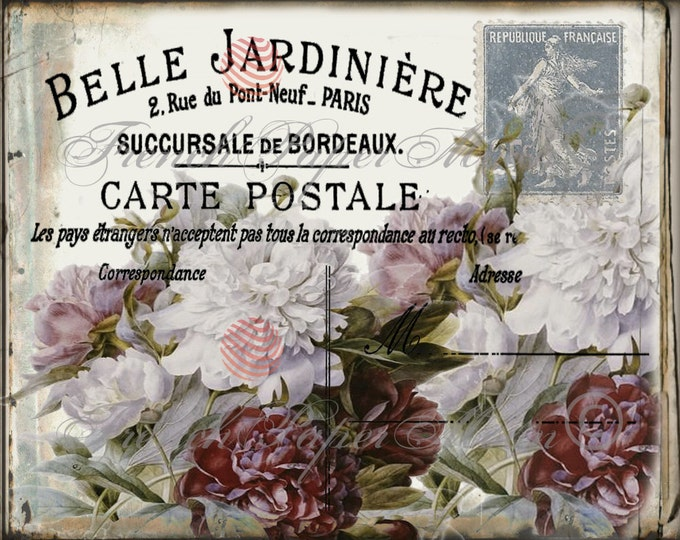 Digital French Shabby Chic Floral Postcard, Belle Jardiniere Instant Download, French Pillow Graphic Transfer Image